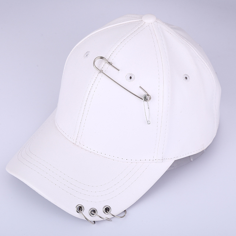 hot sale custom 6 panels white leather baseball cap