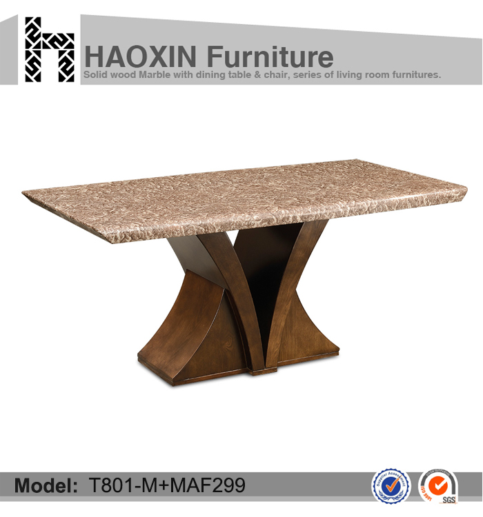 Noble6 seater marble top wooden base dining table and dining chair T801-M+MAF299+C1015