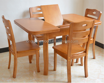 Extention Solid Wood Dining Set Rubber Wood Oval Dining Table Dining Room  Furniture