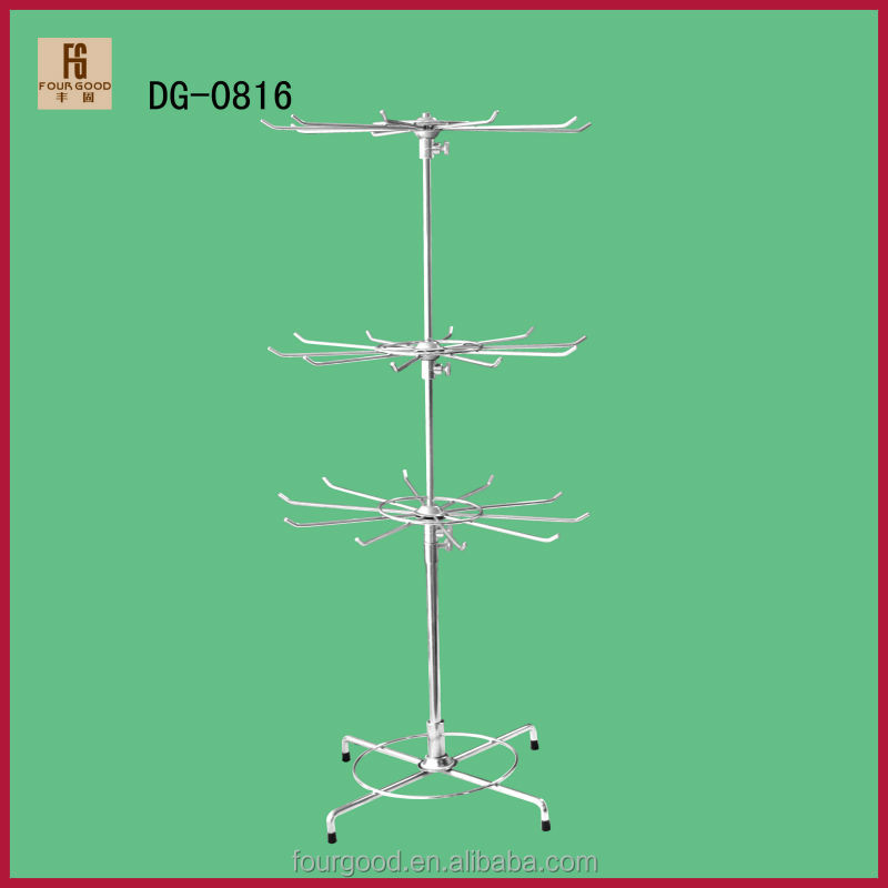 3 Layers Rotating Display Wire Rack for Jewerly Store