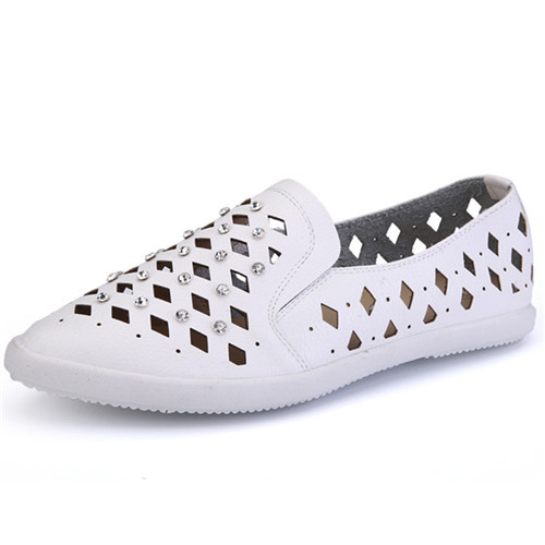 Hot 2015 Brand Woman Flat Shoes Casual Cut-Outs Footwear Women Shoes Breathable Slip On Flats Sapato Feminino White Size 35-39