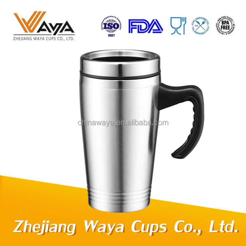 SGS approved double wall stainless steel travel mug with handle
