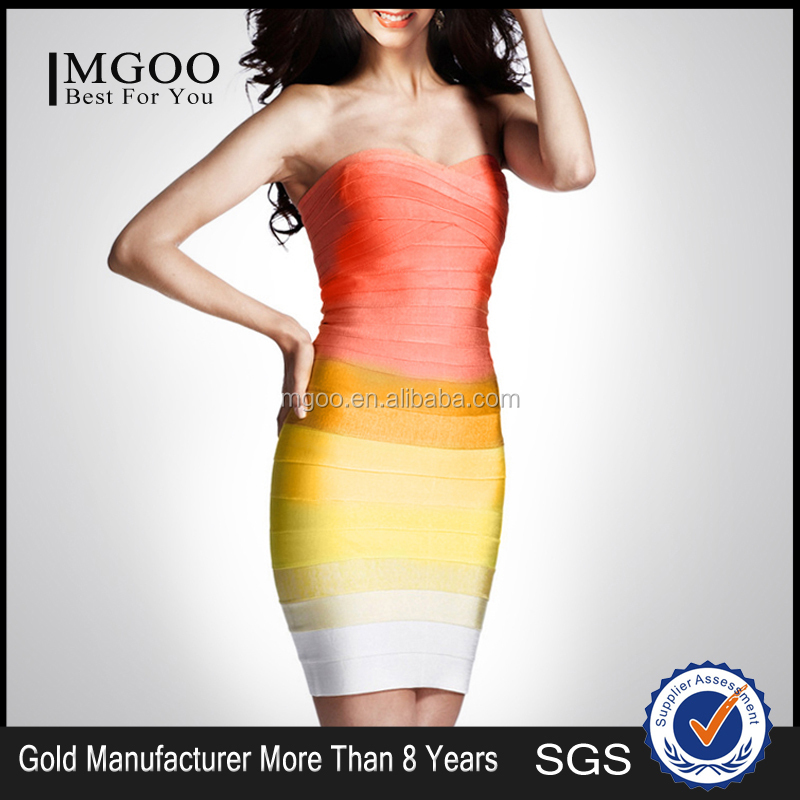 MGOO Wholesale Latest Design Photoes Evening Dress 2015 Orange Yellow Tie Dye Color Changing Strapless Summer Dress H589