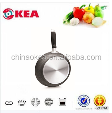 Aluminum cookware electric frying pan parts with Bakelite and S/S handle powder coated pan frying