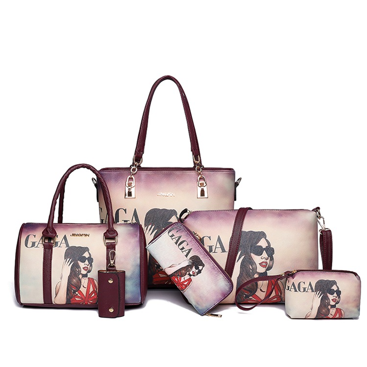 China Custom Women Las Designer Bags Tote 6 In 1 Six Pieces Handbags Set Purses