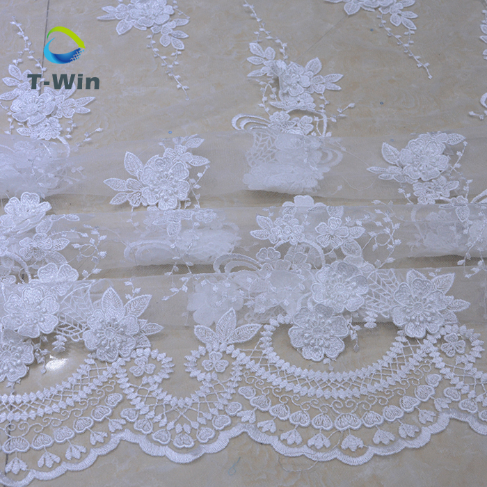 african print fabric White bridal embroidered tulle lace fabric used for embroidered lace for bridal