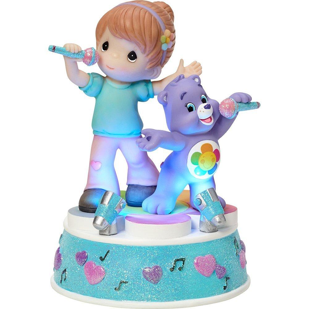 "Precious Moments Company 163102 Precious Moments, Care Bears, ""Girl with harmony Bear"", Music Box, LED Lights, Resin, #163102,Multi"