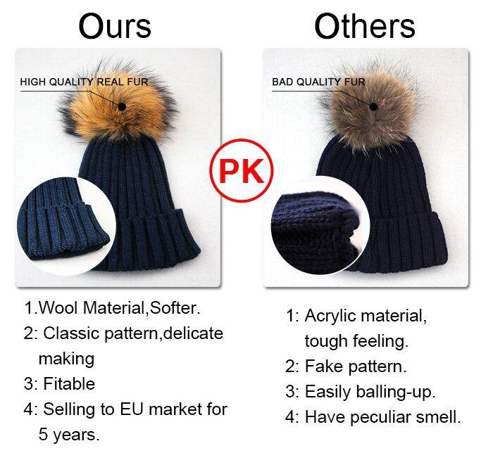 Unique Latest Design Women Raccoon Fur Bobble Wool Knit Hat ...