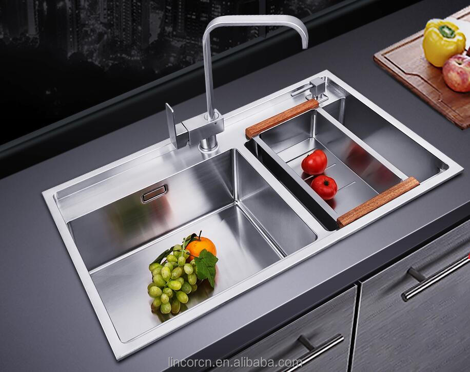 TOP quality double bowl 304 stainless steel square Brush kitchen hand sink with Faucet and strainer