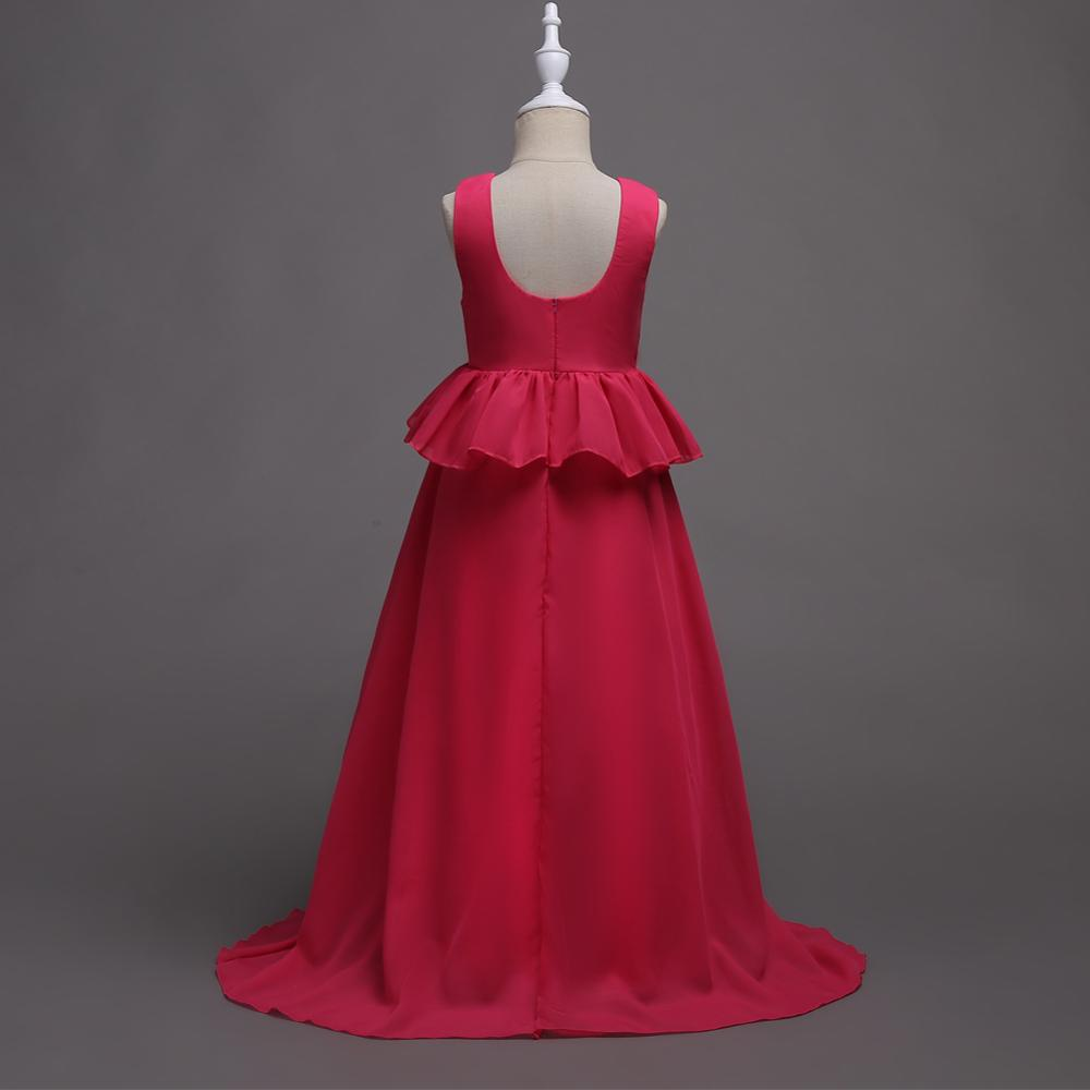 a8403fd86bbb3 Korean Style Girl Chiffon Long Dress Elegant Princess Evening Layered Dress  Flower Girl Bridesmaid Red Wedding Gown - Buy Girl Chiffon Long Dress,Red  ...