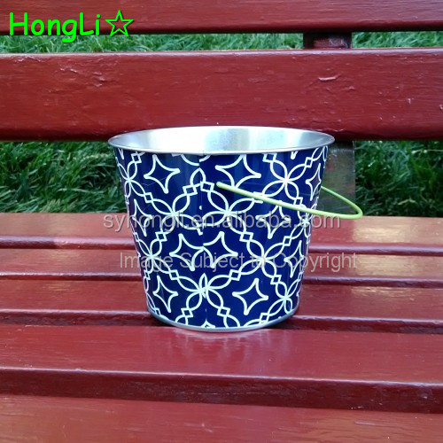 Package Box Item Customized Printing Colorful Flower Metal Tin Bucket With Handle
