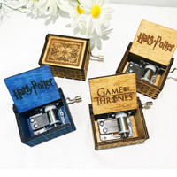 Creative carved mini Engraved hand cranked wooden harry potter music box For Gift