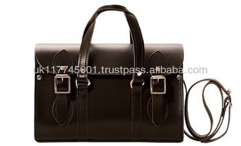 Anu Genuine Leather London Barrel Las Handbag Black Handmade In England