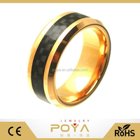 POYA Jewelry 8mm Tungsten Carbide Beveled Edge Gold Plated with Black Carbon Fiber Inlay Wedding Band Ring