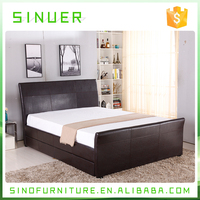 2017 Latest furniture bedroom design faux leather storage ottoman double platform bed with drawer