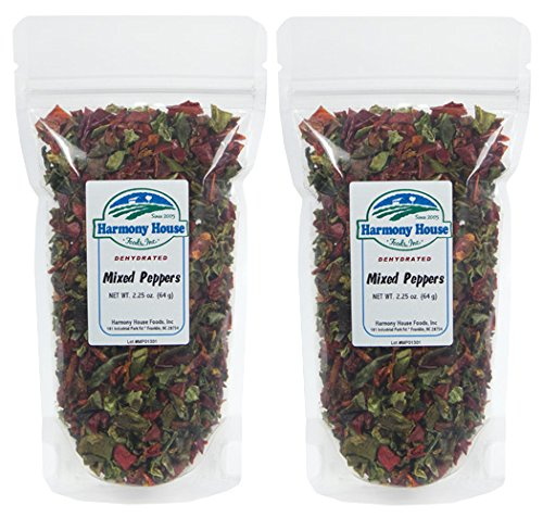 Harmony House Foods Dried Red & Green Bell Peppers, Diced (2.25 oz, ZIP Pouch) - Set of 2