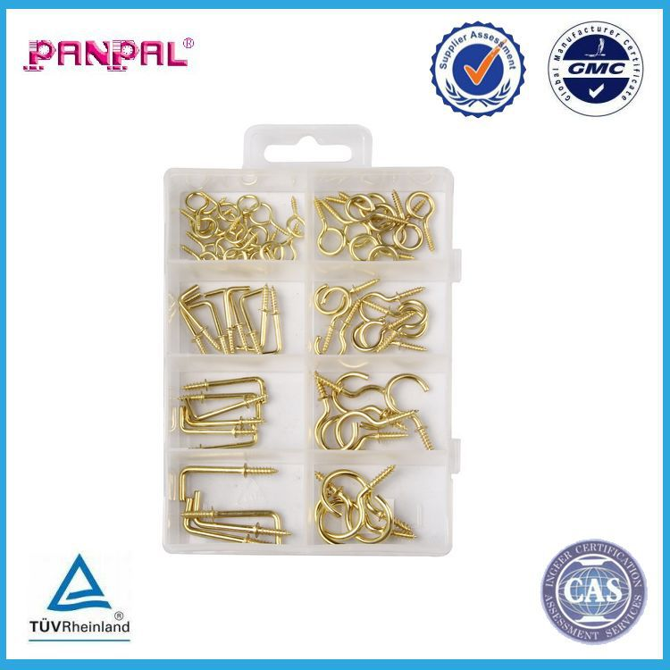 BSCI factory hot sale PP box package 66pcs of assorted sizes iron brass plated screw hanging cup <strong>hook</strong>