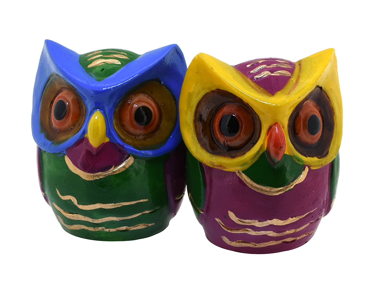 Get Quotations · Pair Of Small Colorful Cute Owl Statues Decorative  Figurines Home Decor (Green U0026 Purple)