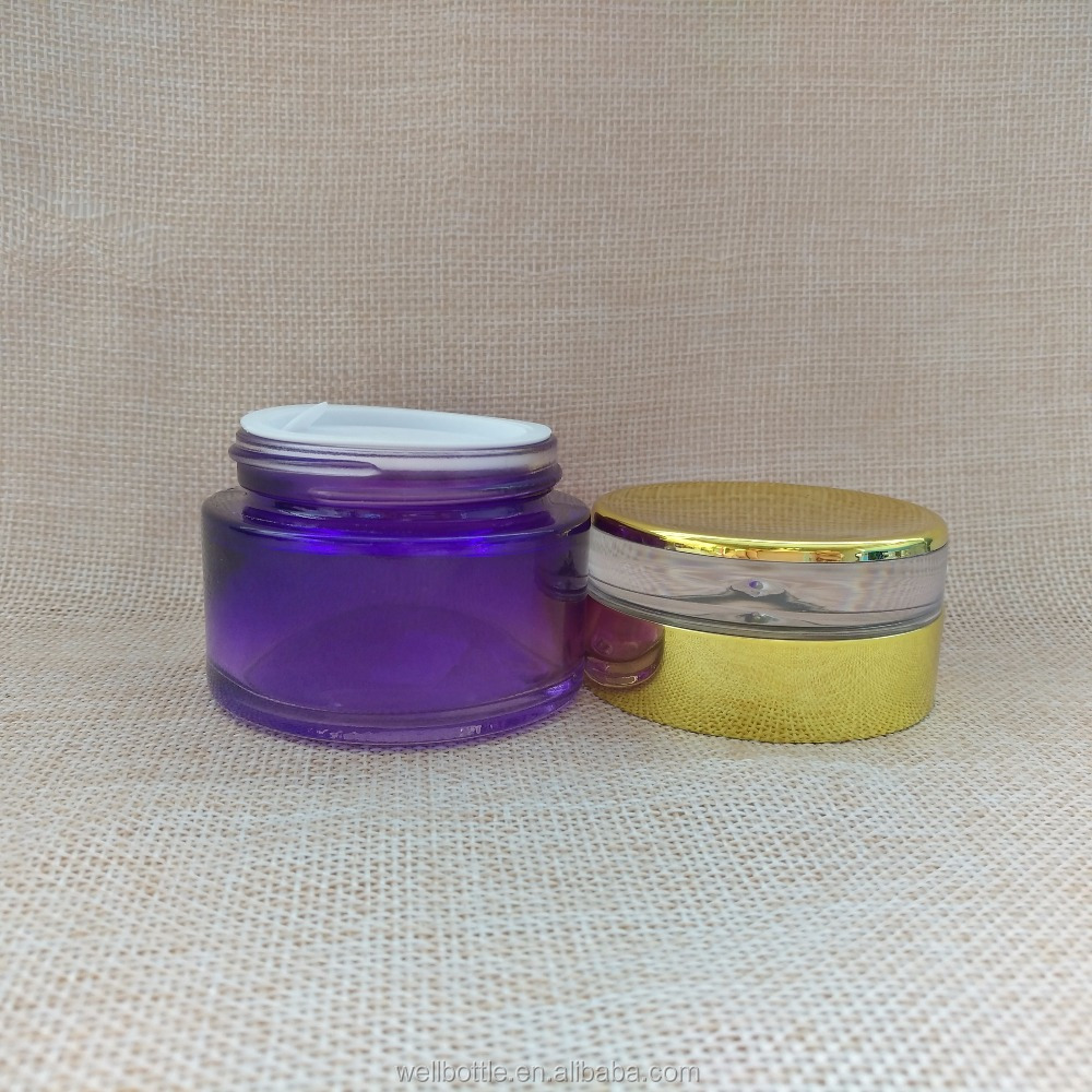 frosted wide mouth glass cream jar for cosmetic packaging jar