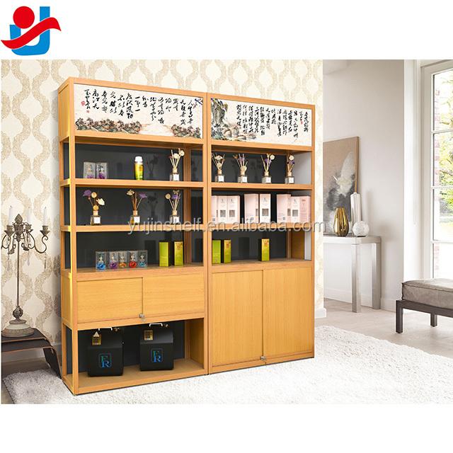 Delicate Woodgrain Perfume Shop Display Shelf Perfume Display ...