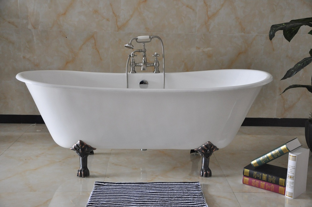 72 freestanding bathroom cast iron bathtub nh 1022 2 for Cast iron tubs vs acrylic