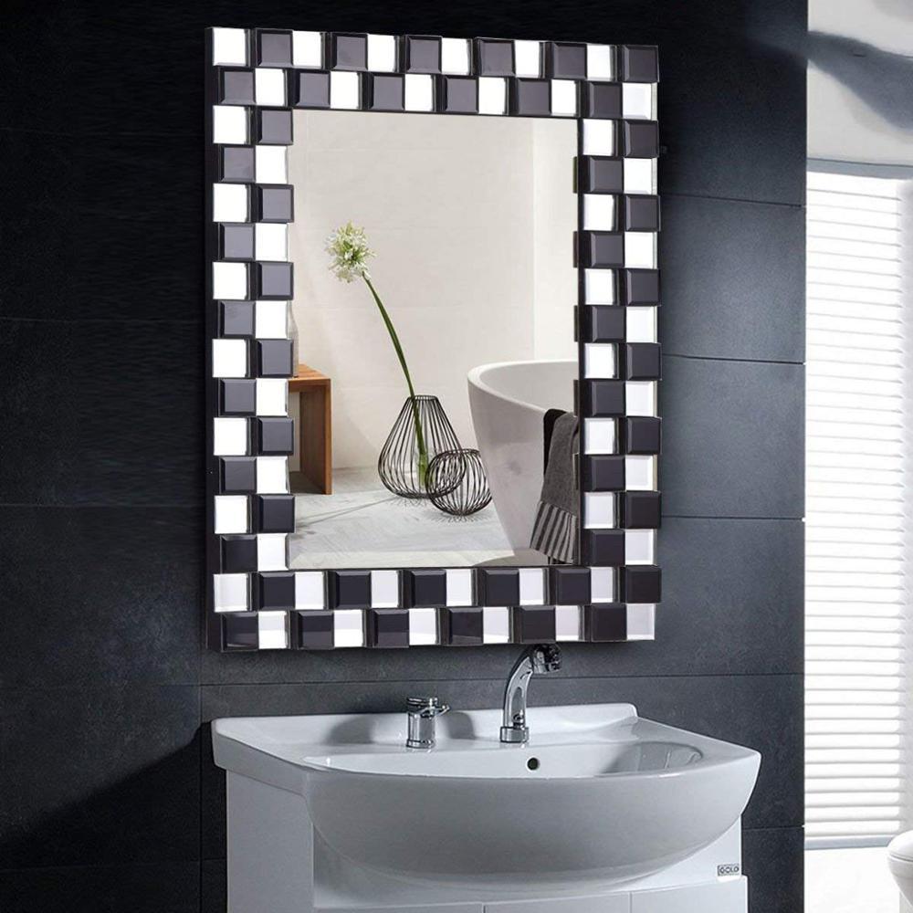 Tangkula Beveled Wood Frame Mirror Rectangle Bathroom Home Wall Rectuangular Design