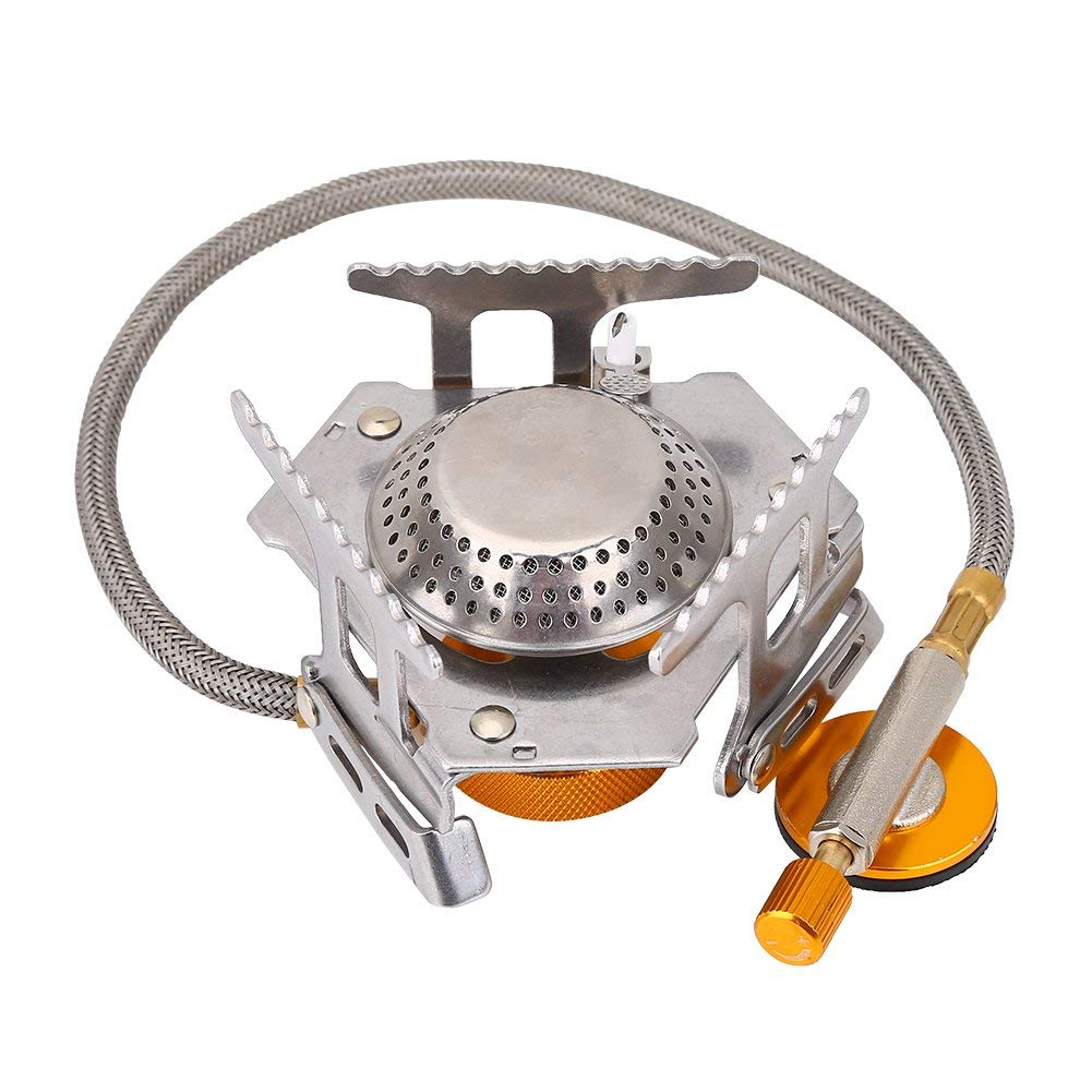 Stove Burner, Durable Aluminum Alloy Portable Camping Gas Stove Folding Stove with Convenient Piezo Ignition