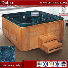European luxurious big size massage bathtub ,bubble spa with ozone, wooden barrel bath tub