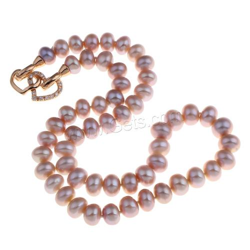 Natural Freshwater Pearl Necklace brass with cubic zirconia charm Baroque pearl necklace