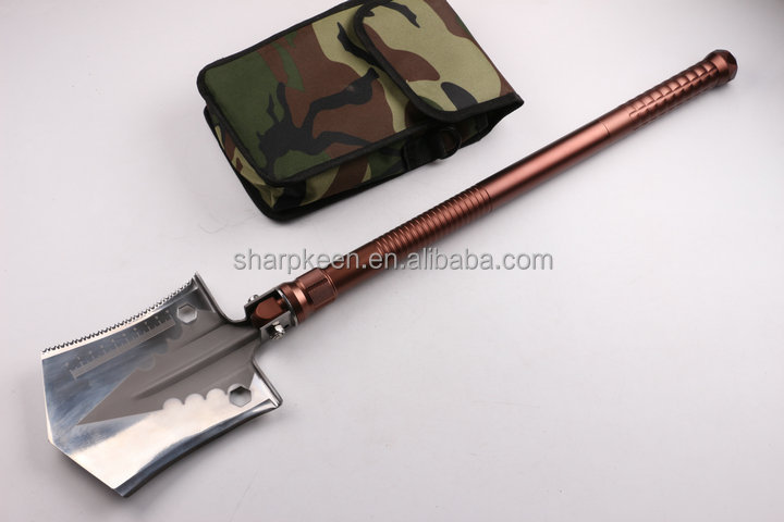 Aircraft aluminum handle multi-functional outdoor folding shovel ordnance shovel with scale and fire sticker