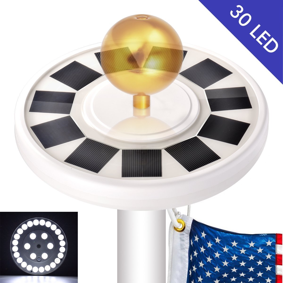 Olssda Flag Pole Lights Solar Powered 26 LED Waterproof Flagpole Downlight for Most 15 to 25 Ft Dusk to Dawn Auto On//Off Night Lighting