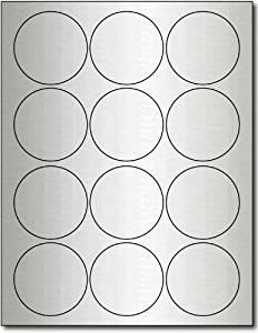 """2 1/2"""" Round Inkjet Silver Foil Labels - 10 Sheets / 120 Labels"""