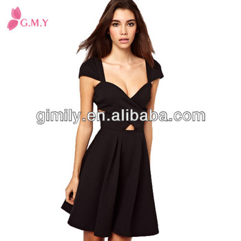 81c12ada2bf1 korean ladies cut deep v neck pleated little sexy party black dresses