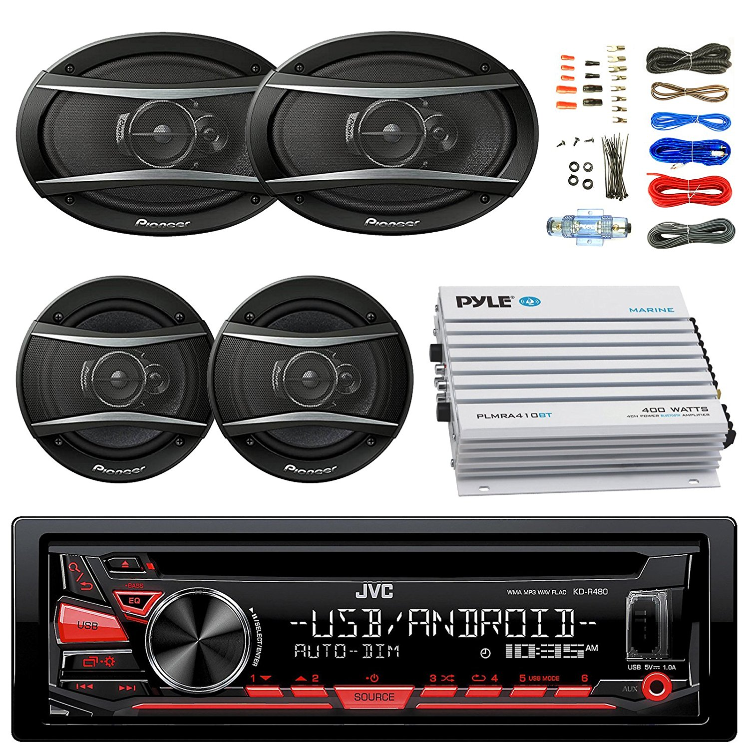 """JVC KDR480 Car Bluetooth Radio USB AUX CD Player Receiver - Bundle With 2x TSA1676R 6.5"""" 3-Way Car Audio Speakers - 2x 6.5""""-6.75"""" 4-Way Stereo Speaker + 4-Channel Amplifier + Amp Kit"""