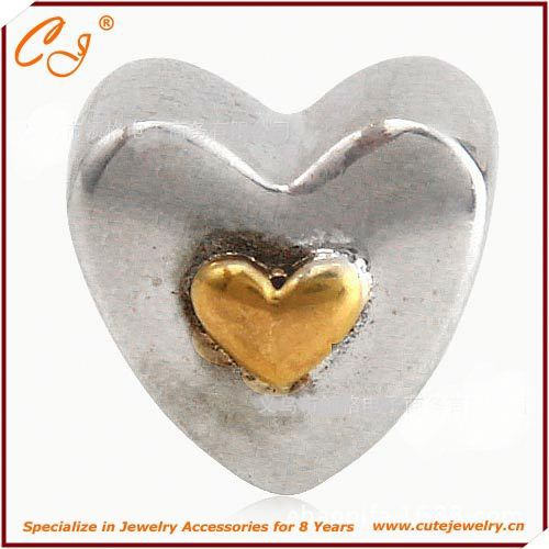 925 Sterling Silver Charm, Yellow Heart Shape Silver Bead