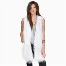 2015 Autumn Winter Women Vest Coat Black/White XS~XXL Europe And America OL Temperament Slim Faux Fur Waistcoat Jacket LJ2991
