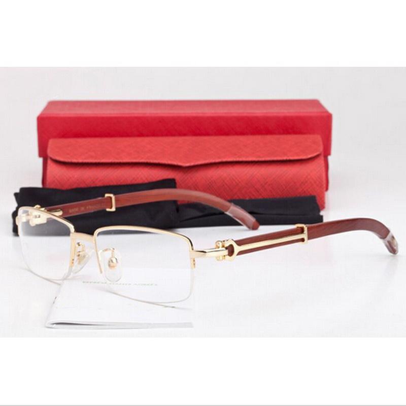 fd137b9bb2c4 2016 Men Rimless Glasses Wooden Carved Eyeglasses Brand Optical Glasses  Women Gold Silver Wood Bamboo Carving