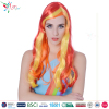Styler Brand halloween party wigs women long yellow with orange wig