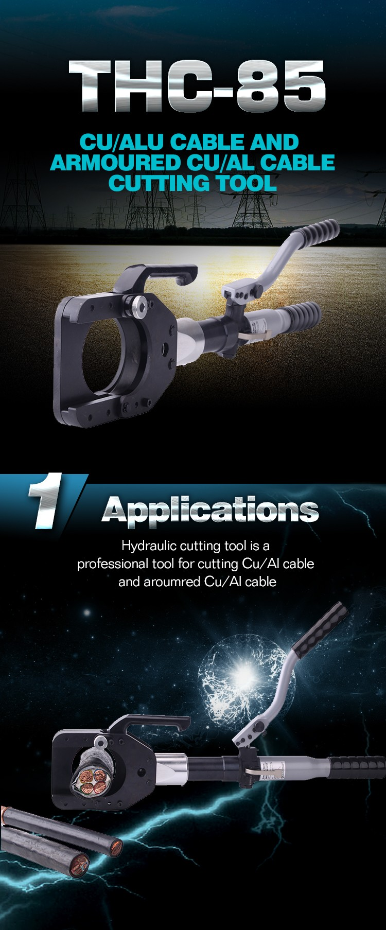 THC-85 Safety Hydraulic hand Cable Cutter for Cu/Al cable and armoured Cu/Alu cable 60KN