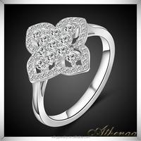 Good Quality Brass Diamond Korea Ring Platinum Plated Ladies Finger Ring Design
