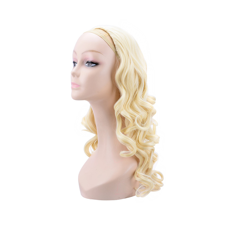 Curly wavy synthetic half wig for women