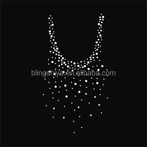 Bling Iron On Neckline Applique Rhinestone Transfers For Wedding Dress
