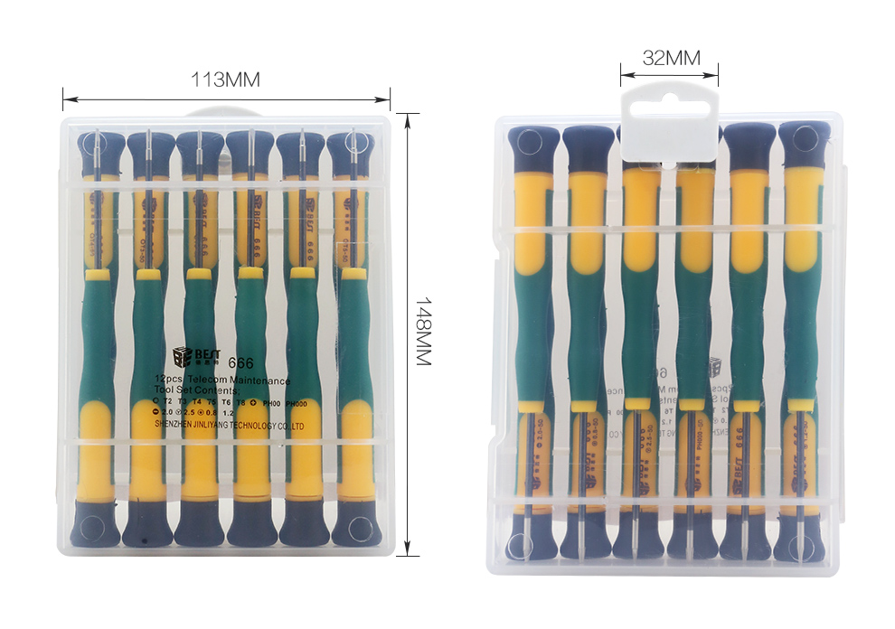 12pcs CRV Material Strong Magnetic Head Precision Screwdriver Set for Cell Phone iPhone for Laptop