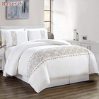 Hot selling cotton print embroidery duvet cover bedding set