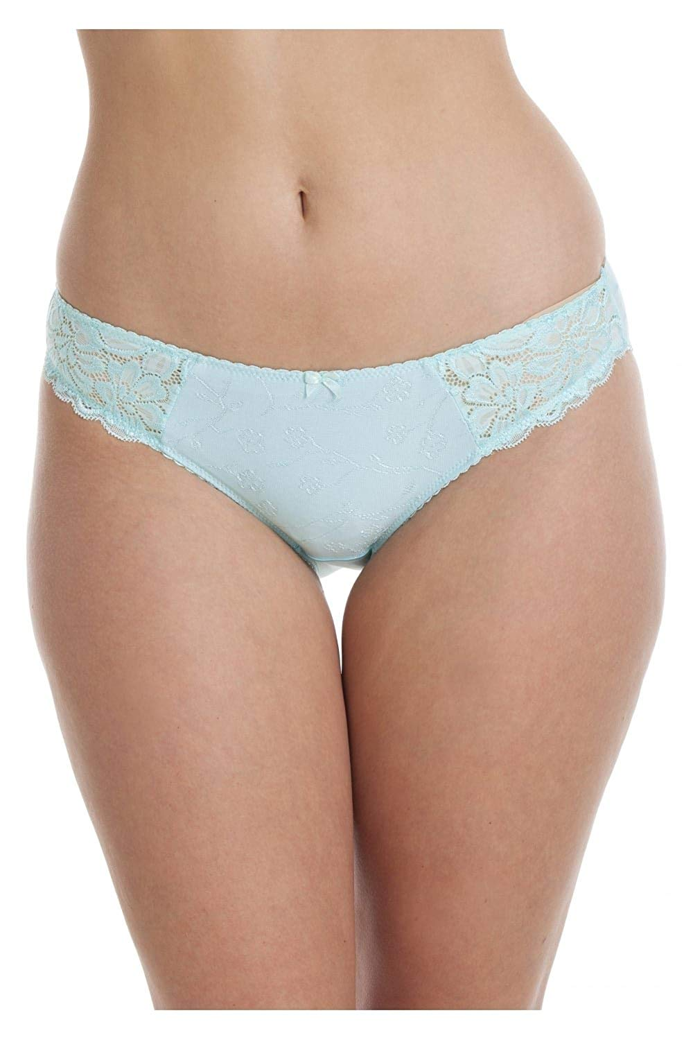 4eba72fb6384 Camille Womens Ladies Serenity Jacquard Underwear High Leg Blue Briefs 6-16