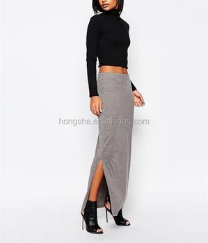 19c6a2a020 Latest long net skirt 2016 grey jersey fabric maxi skirt with split side  HSS3714
