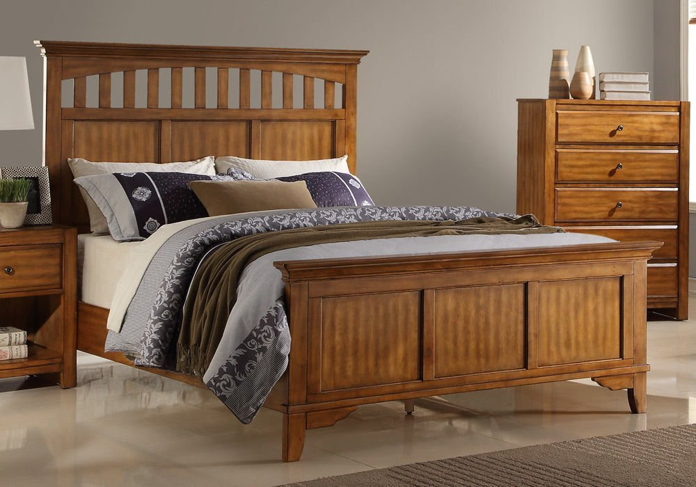 Get Quotations · 1PerfectChoice Master Bedroom Eastern King Bed Arch  Headboard Cut Out Solid Wood Rustic Wood Oak