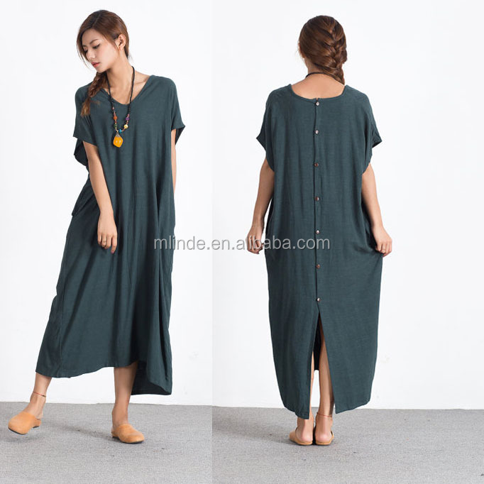 Sellse Womens Linen Loose Maxi Bridesmaid Large Size Plus Size Dress Cotton Clothing