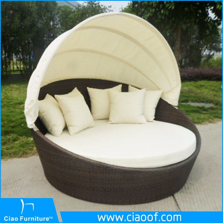 gb 10d outdoor korb rattan freizeit garten bett mit. Black Bedroom Furniture Sets. Home Design Ideas