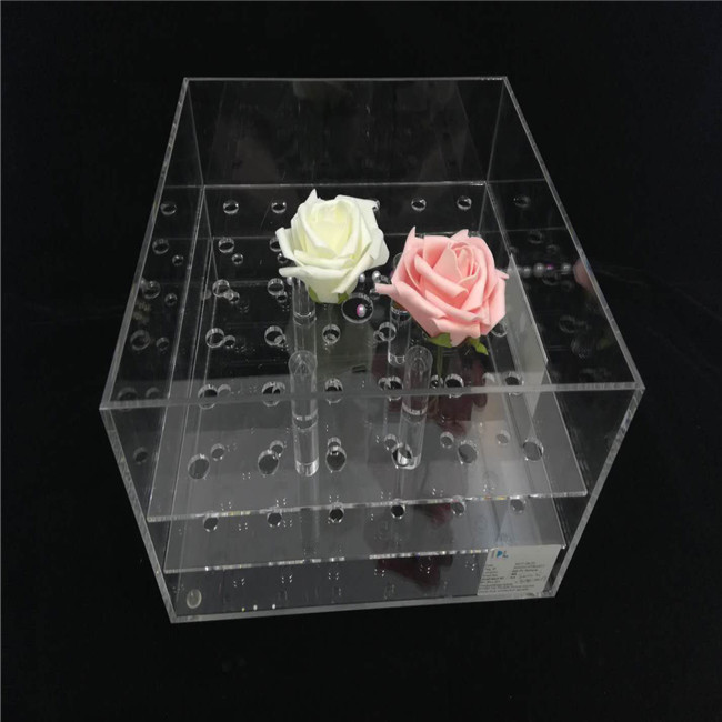 Customized Square Waterproof Acrylic Rose Flower Packaging Boxes